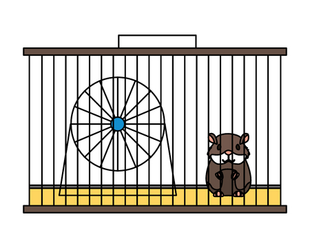 pet shop hamster on cage with wheel vector illustration Ilustração