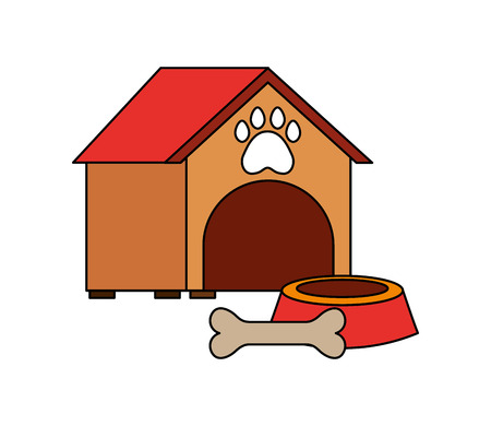 pet shop house bowl and bone vector illustration Ilustração