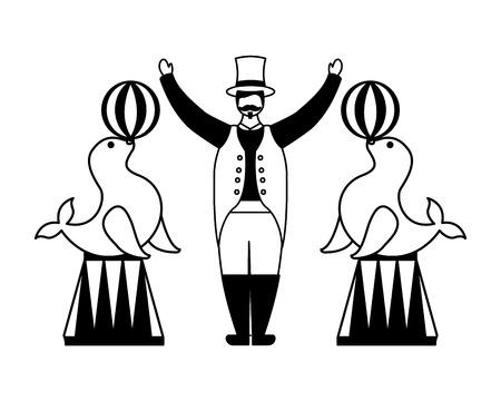 tamer and seals with balls circus fun fair vector illustration Иллюстрация