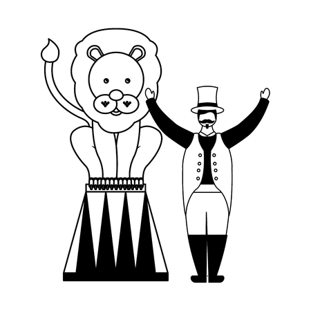 tamer and lion on stand circus fun fair vector illustration