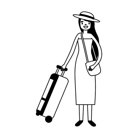 tourist woman with travel suitcase vacations vector illustration Vectores