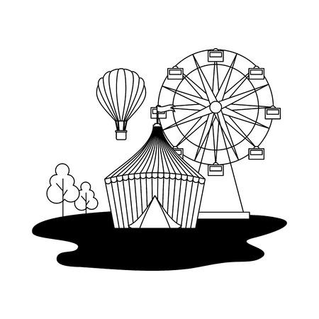 tent ferris wheel and hot air balloon circus fun fair vector illustration