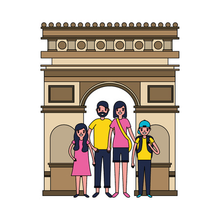 man woman and kids vacations travel vector illustration