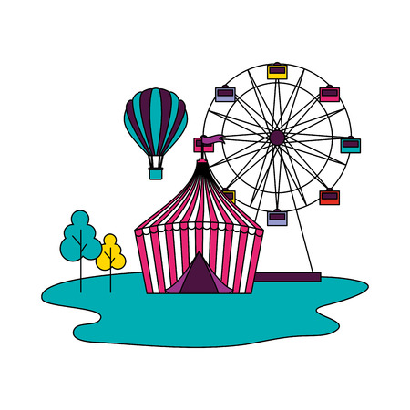 tent ferris wheel and hot air balloon circus fun fair vector illustration
