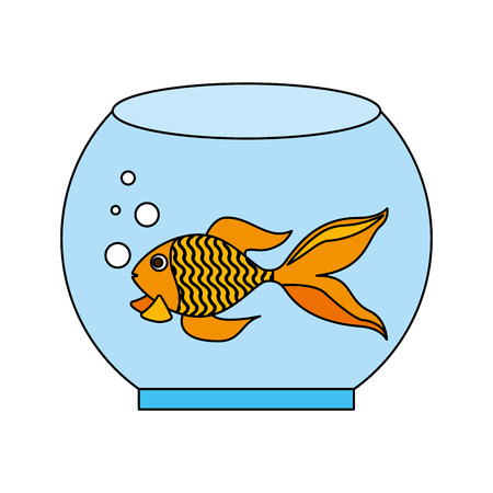 goldfish in glass bowl pet shop vector illustration