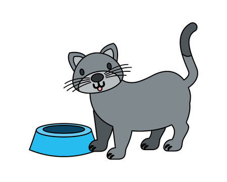 gray cat and food bowl pet vector illustration