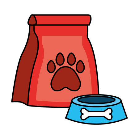 package food and bowl pet shop vector illustration