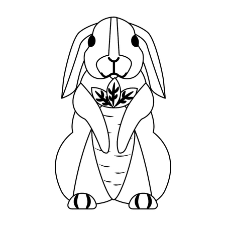 cute rabbits with carrots on white background vector illustration
