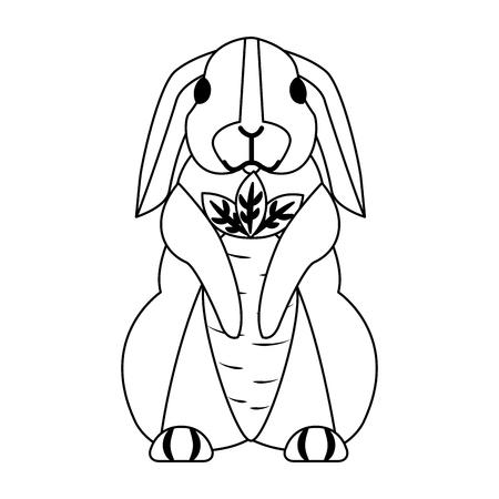 lapins mignons avec des carottes sur fond blanc vector illustration Vecteurs