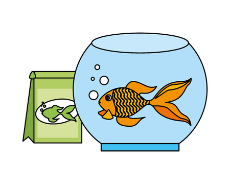 goldfish bowl food bag pet shop vector illustration Ilustração