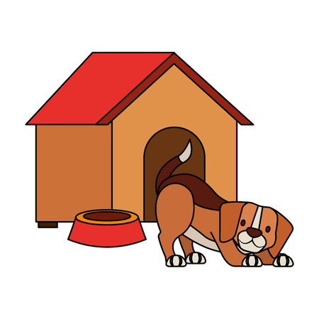dog house and bowl pet shop vector illustration Stock Illustratie