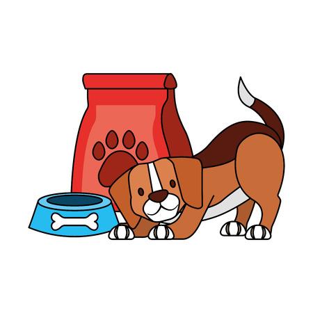 beagle dog and food bag bone pet shop vector illustration Stock Illustratie