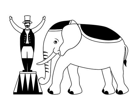 man and elephant circus fun fair vector illustration Vettoriali