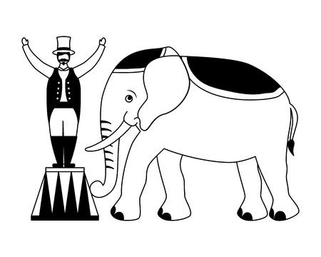 man and elephant circus fun fair vector illustration Illustration