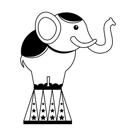 elephant on stand circus fun fair vector illustration