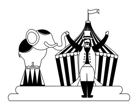 man and elephant circus fun fair vector illustration Иллюстрация