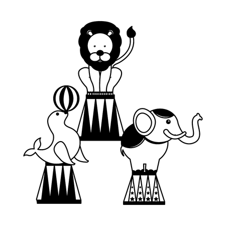 seal elephant and lion show circus fun fair vector illustration 스톡 콘텐츠 - 127683238