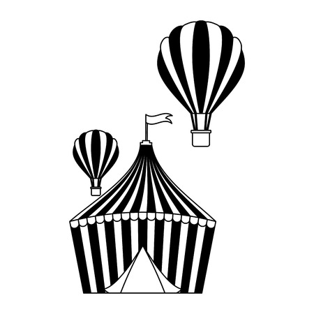 tent and hot air balloons circus fun fair vector illustration