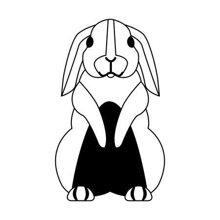 lapin mignon sur fond blanc vector illustration