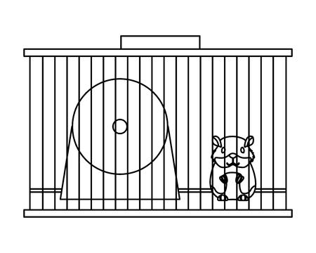 Zoohandlung Hamster auf Käfig mit Radvektorillustration Vektorgrafik