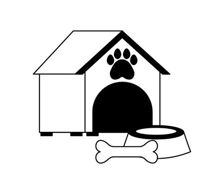 pet shop house bowl and bone vector illustration Illustration