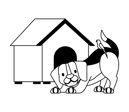 dog and wooden house pet shop vector illustration
