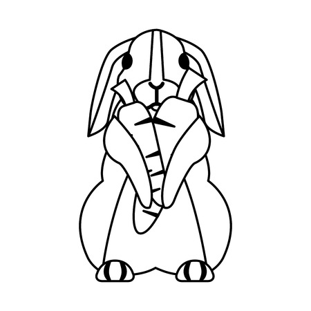 cute rabbit with carrots on white background vector illustration Reklamní fotografie - 127683247