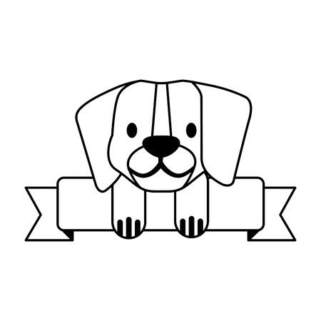 beagle dog pet shop ribbon emblem vector illustration Stock Vector - 127683252