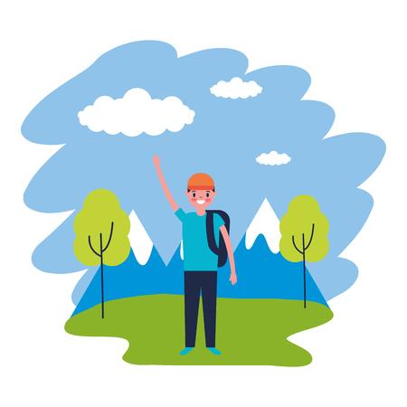 boy with backpack travel mountains landscape vector illustration Illustration