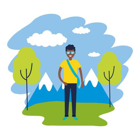 man travel nature mountains landscape vector illustration