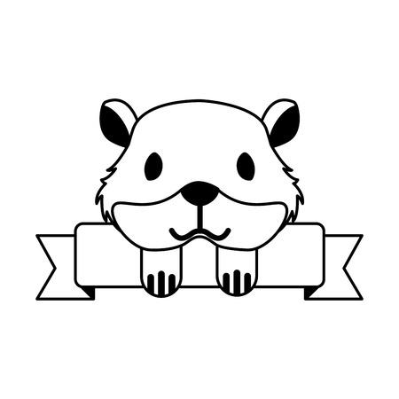 chomik sklep zoologiczny wstążka godło ilustracja wektorowa Ilustracje wektorowe