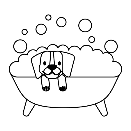 perro, en, baño, aseo, mascota, vector, ilustración
