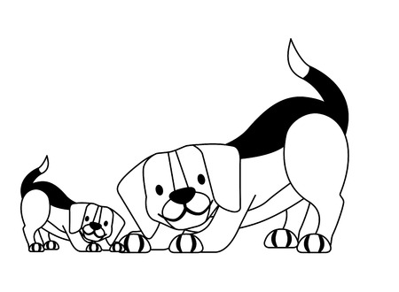 beagle dogs pet on white background vector illustration
