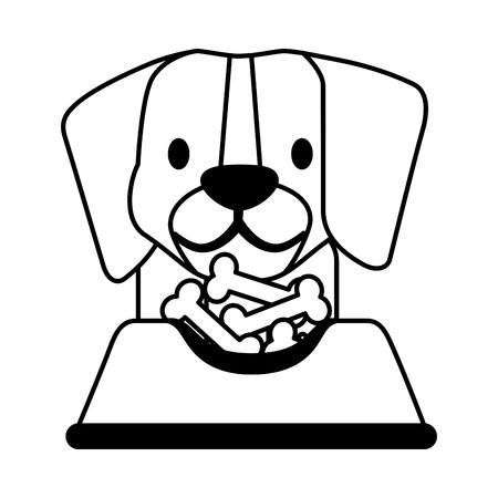 dog beagle with food bone pet shop vector illustration