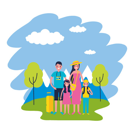 family mountains trees travel vacations vector illustration