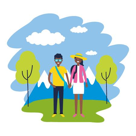 couple travel nature mountains landscape vector illustration