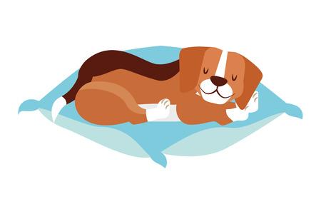 beagle dog sleeping on cushion vector illustration