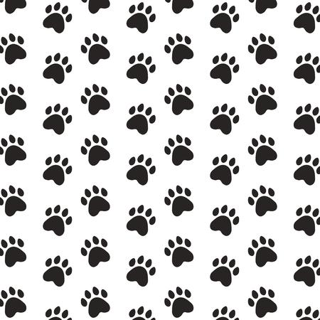 schwarze Pfoten Haustier Hintergrundmuster Vektor-Illustration