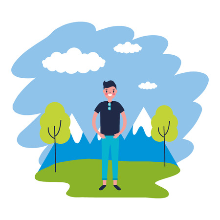 man travel nature mountains landscape vector illustration