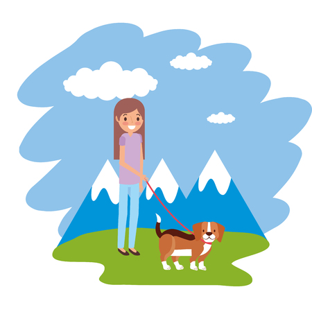 girl with little beagle dog in the outdoors vector illustration Çizim