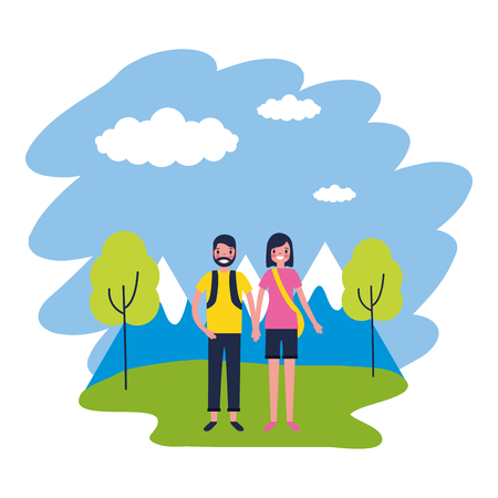 couple mountains trees travel vacations vector illustration