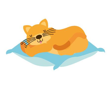 domestic cat sleeping on the cushion vector illustration