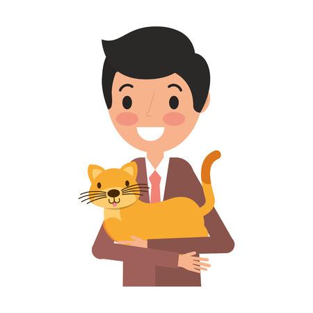 smiling man holding pet cat vector illustration Çizim