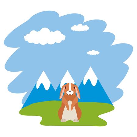 rabbit nature grass mountains landscape vector illustration