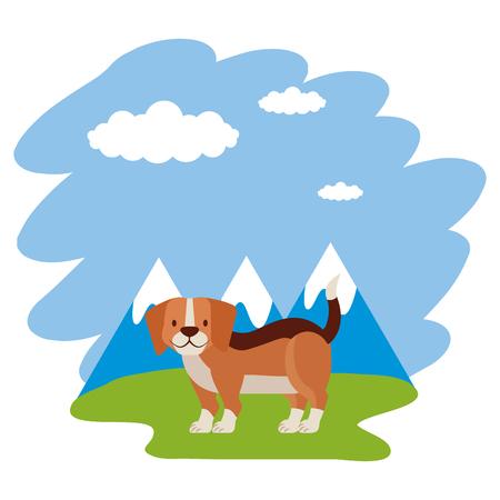 beagle dog grass mountains landscape vector illustration Standard-Bild - 127683284