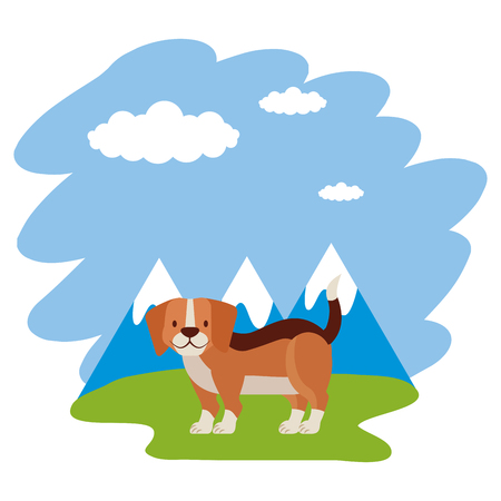 beagle dog grass mountains landscape vector illustration Illustration