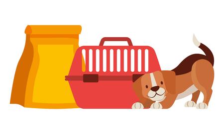 beagle dog with cage and food bag vector illustration Illustration