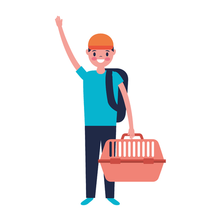 young man holding pet cage vector illustration