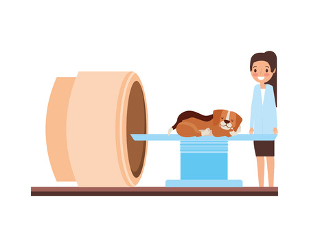 Femme médecin et chien machine de numérisation clinique vétérinaire vector illustration