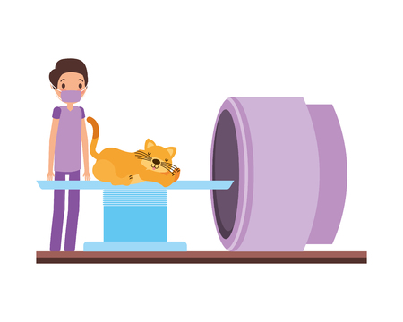 doctor and cat on scanning machine veterinary clinic vector illustration